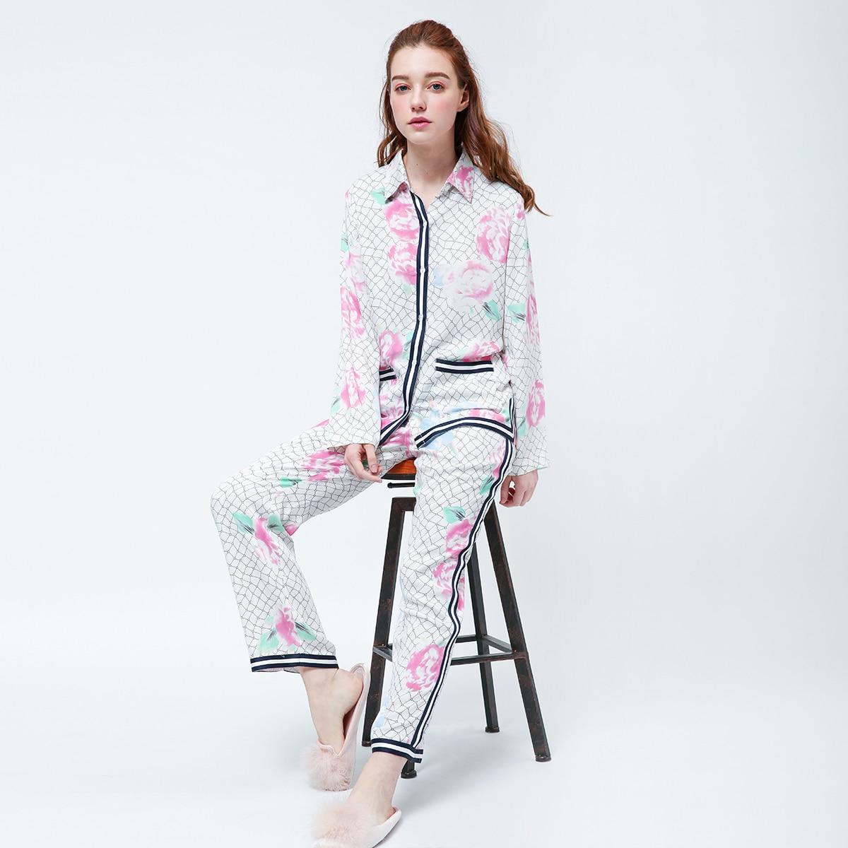 Пижама с цветочным принтом и полосками