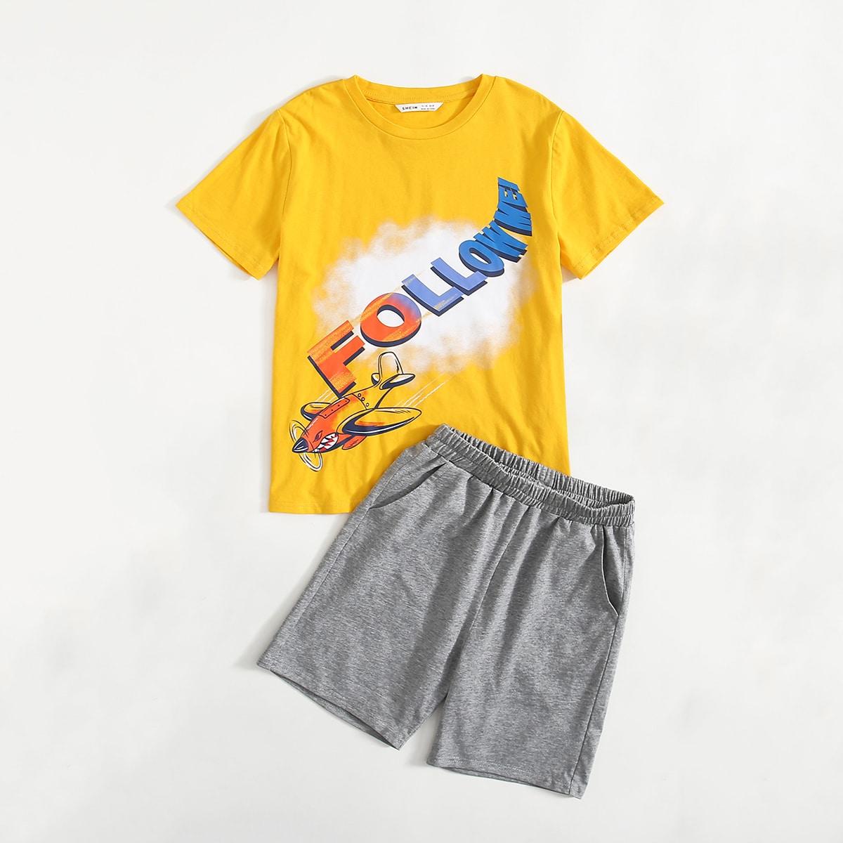 с карманами Мультяшный принт Повседневный Домашняя одежда для мальчиков