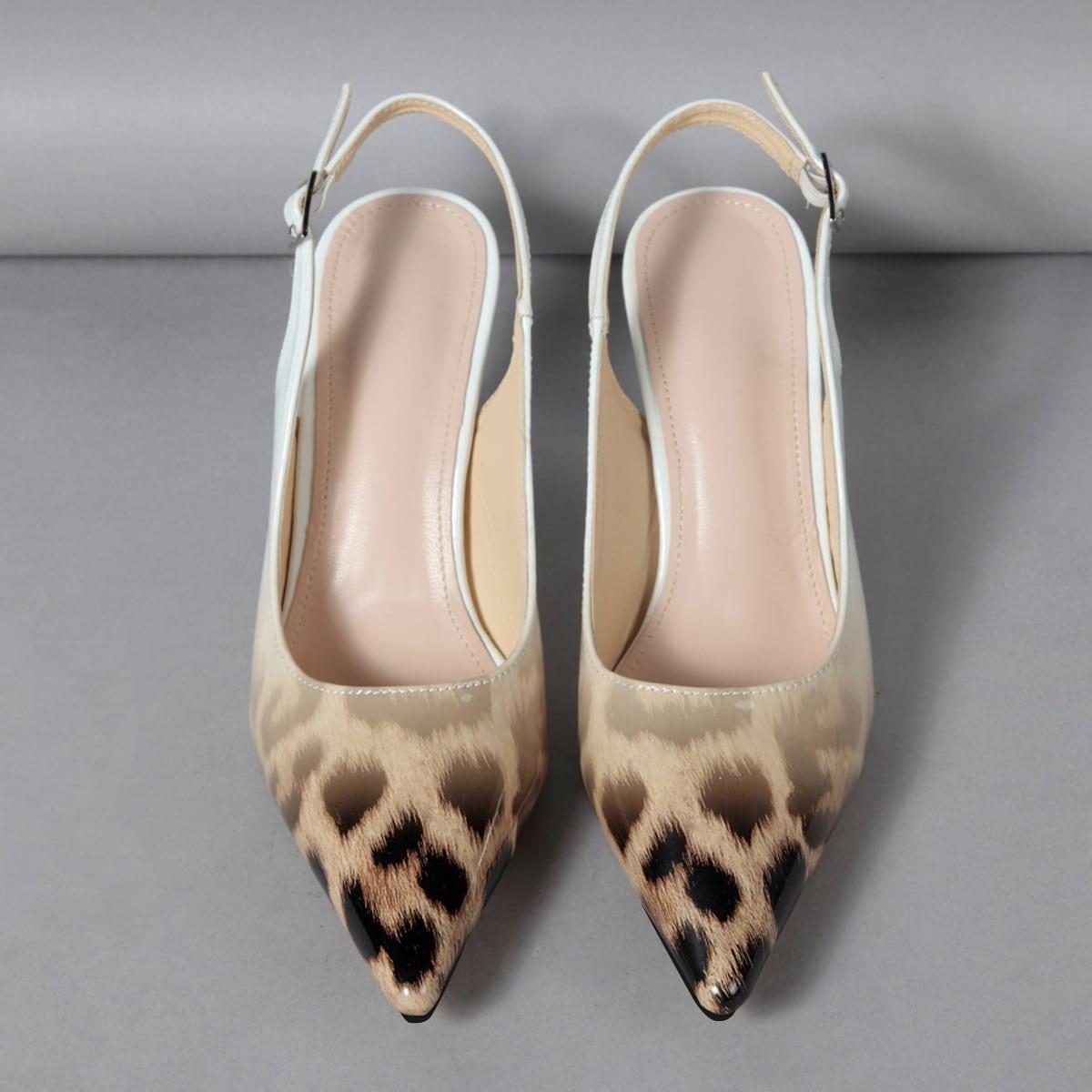 Туфли с леопардовым принтом и открытой пяткой