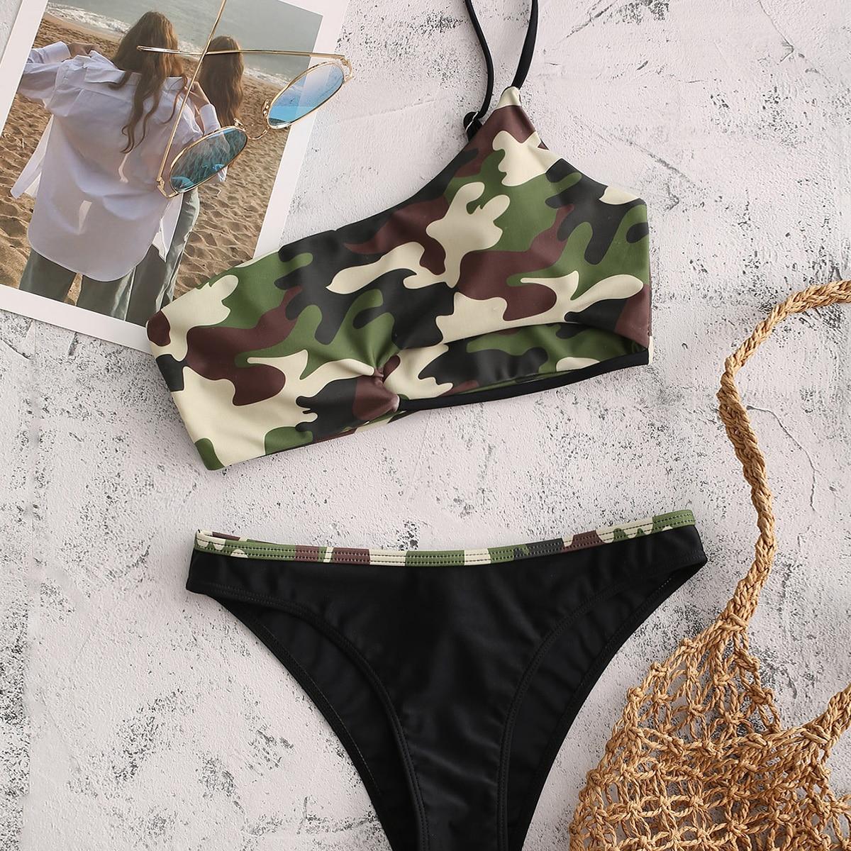 SHEIN / Camo Pattern One Shoulder Bikini Swimsuit