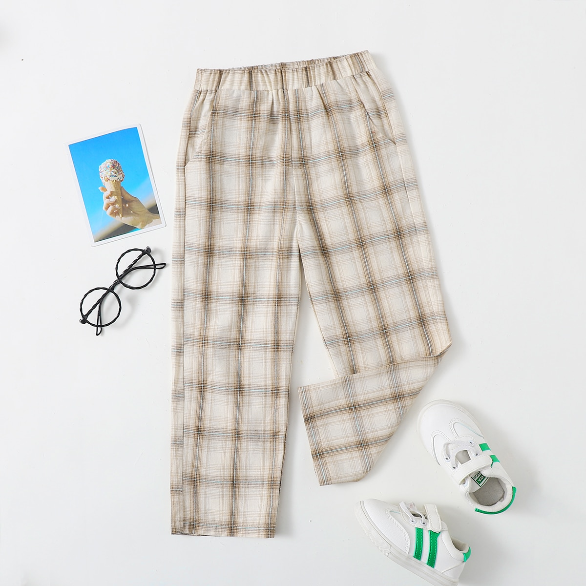 Прямые брюки в клетку для мальчиков