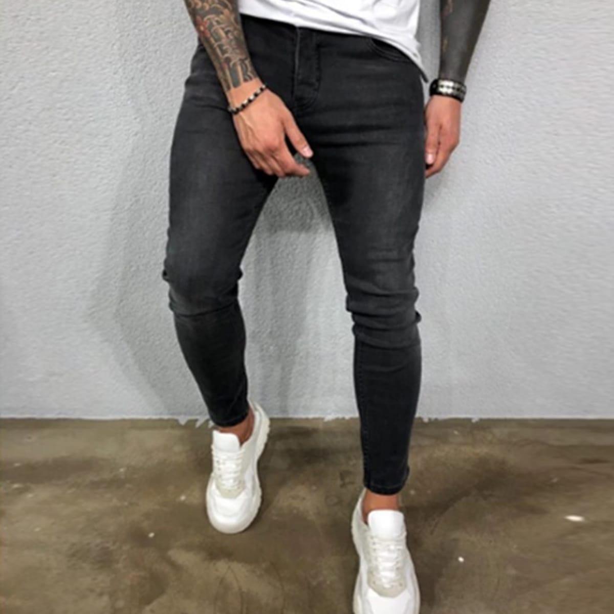Мужские однотонные джинсы с карманом