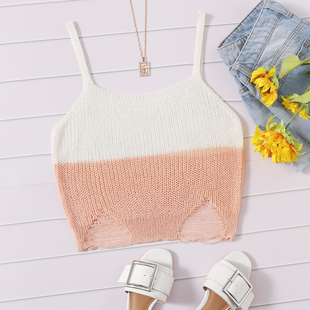 Two Tone Ripped Cami Knit Top