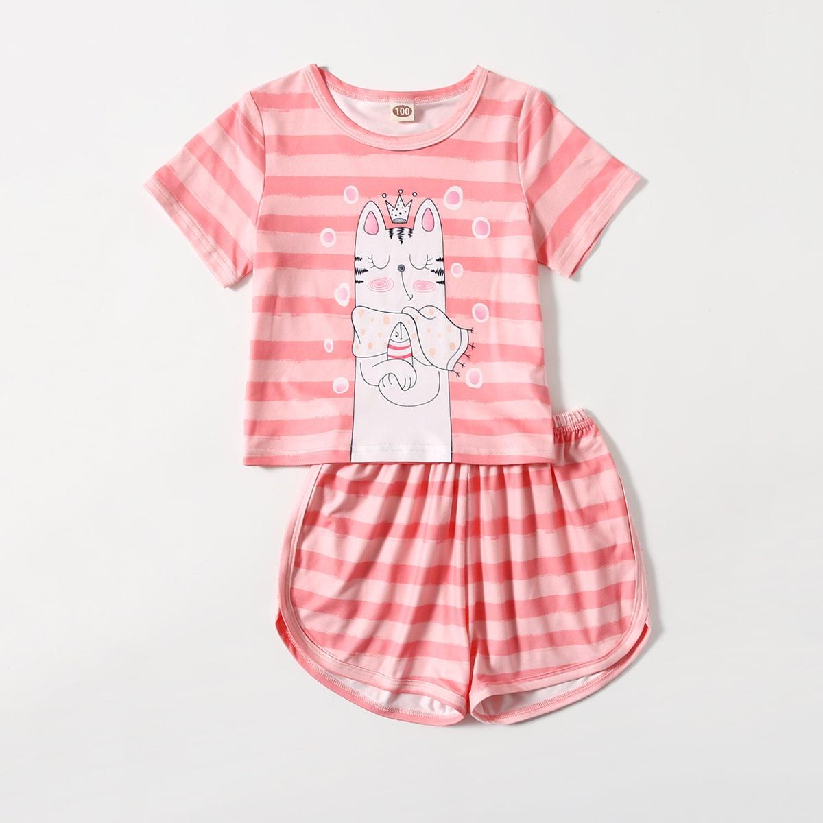 Пижама в полоску с мультипликационным рисунком для девочек