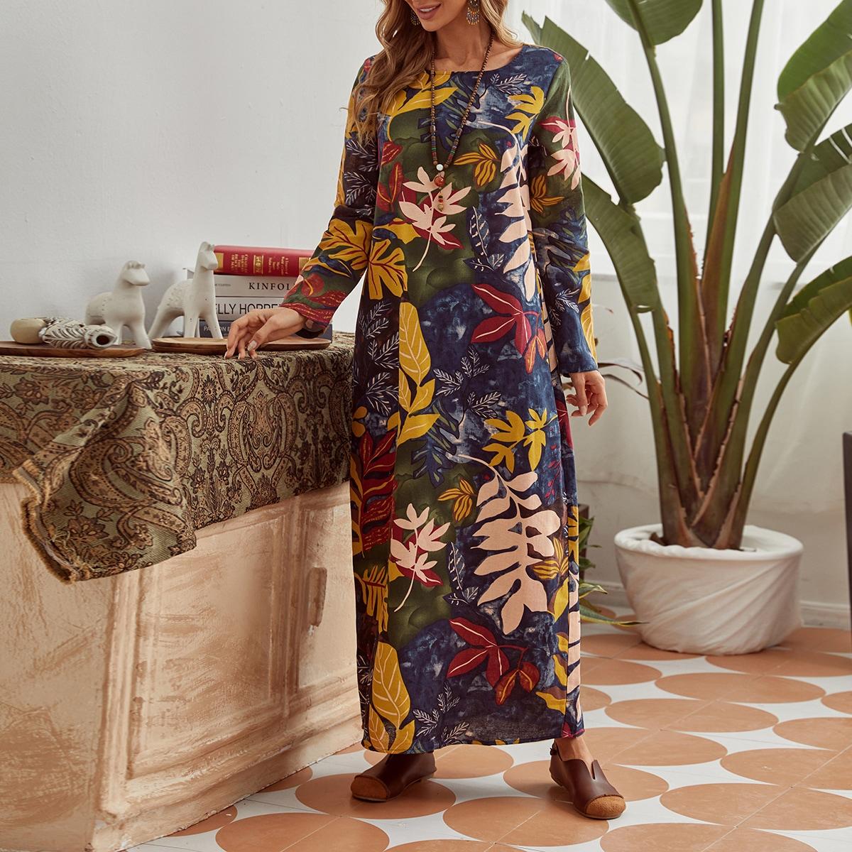 Платье макси с принтом растений