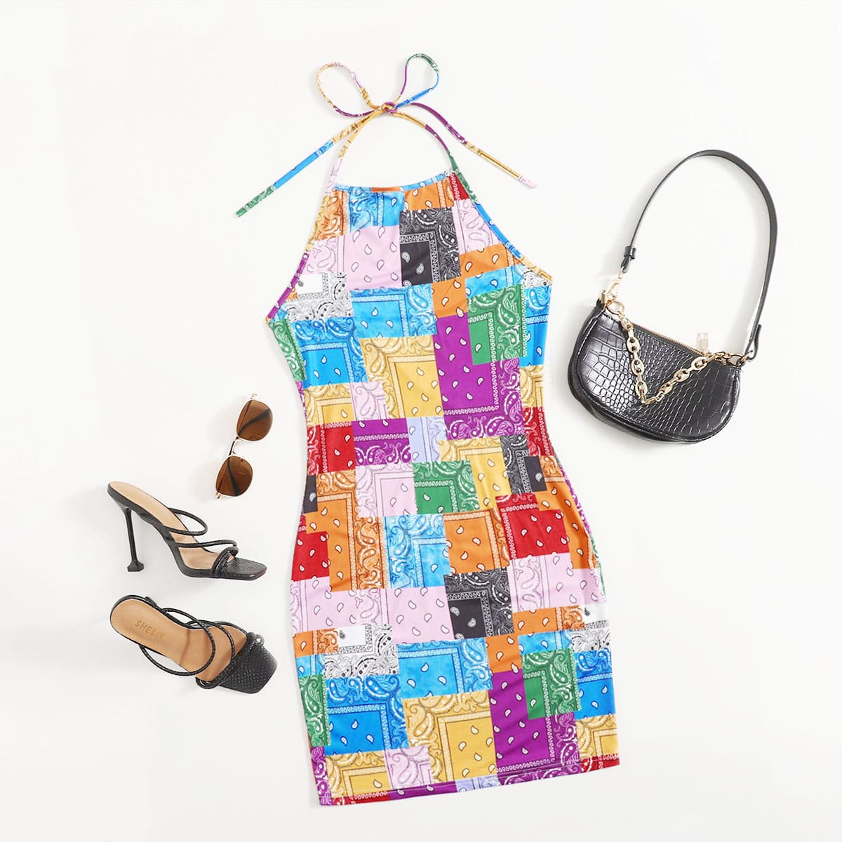 Paisley Patchwork Print Tie Back Halter Dress, SHEIN  - buy with discount