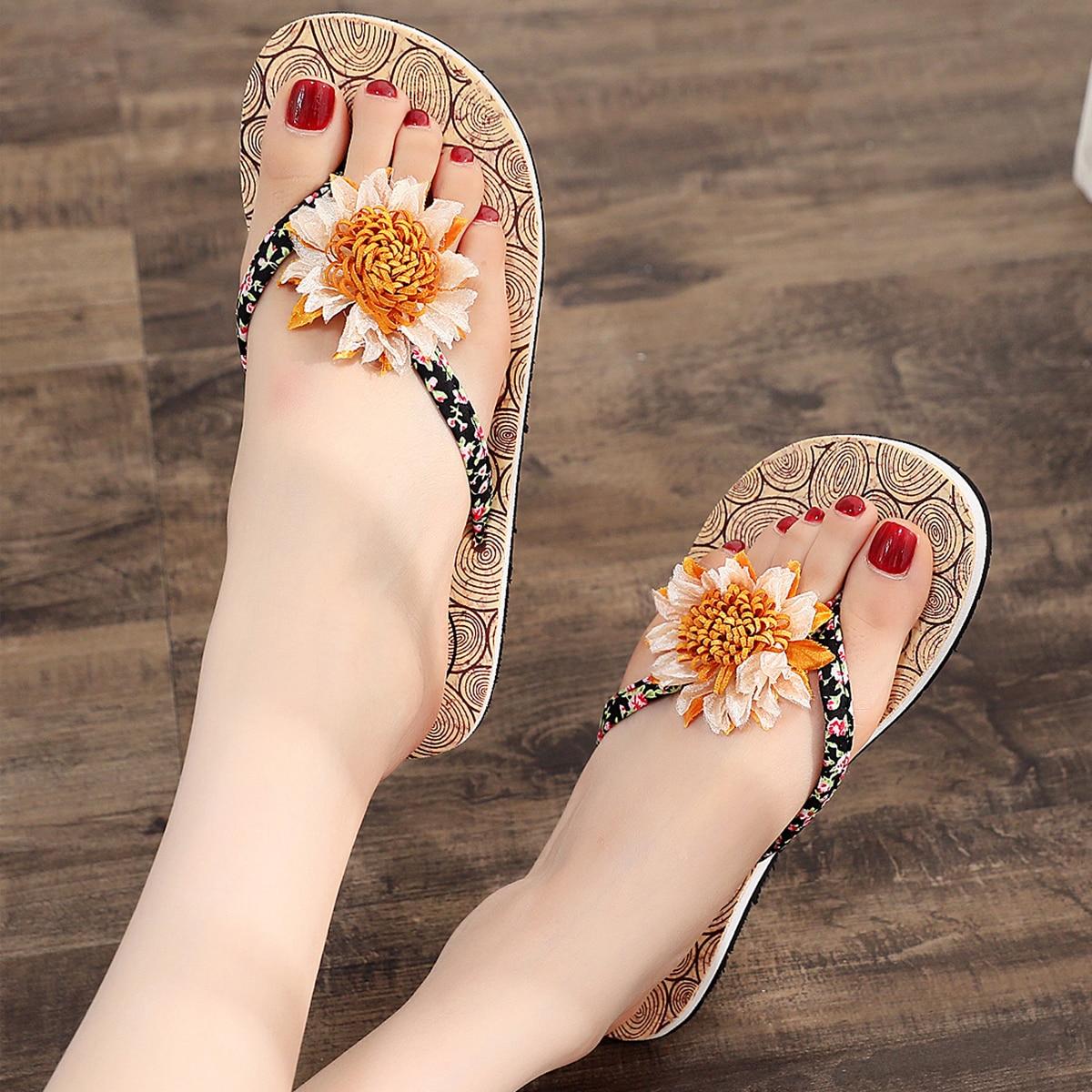 SHEIN Flower Decor Flip Flops