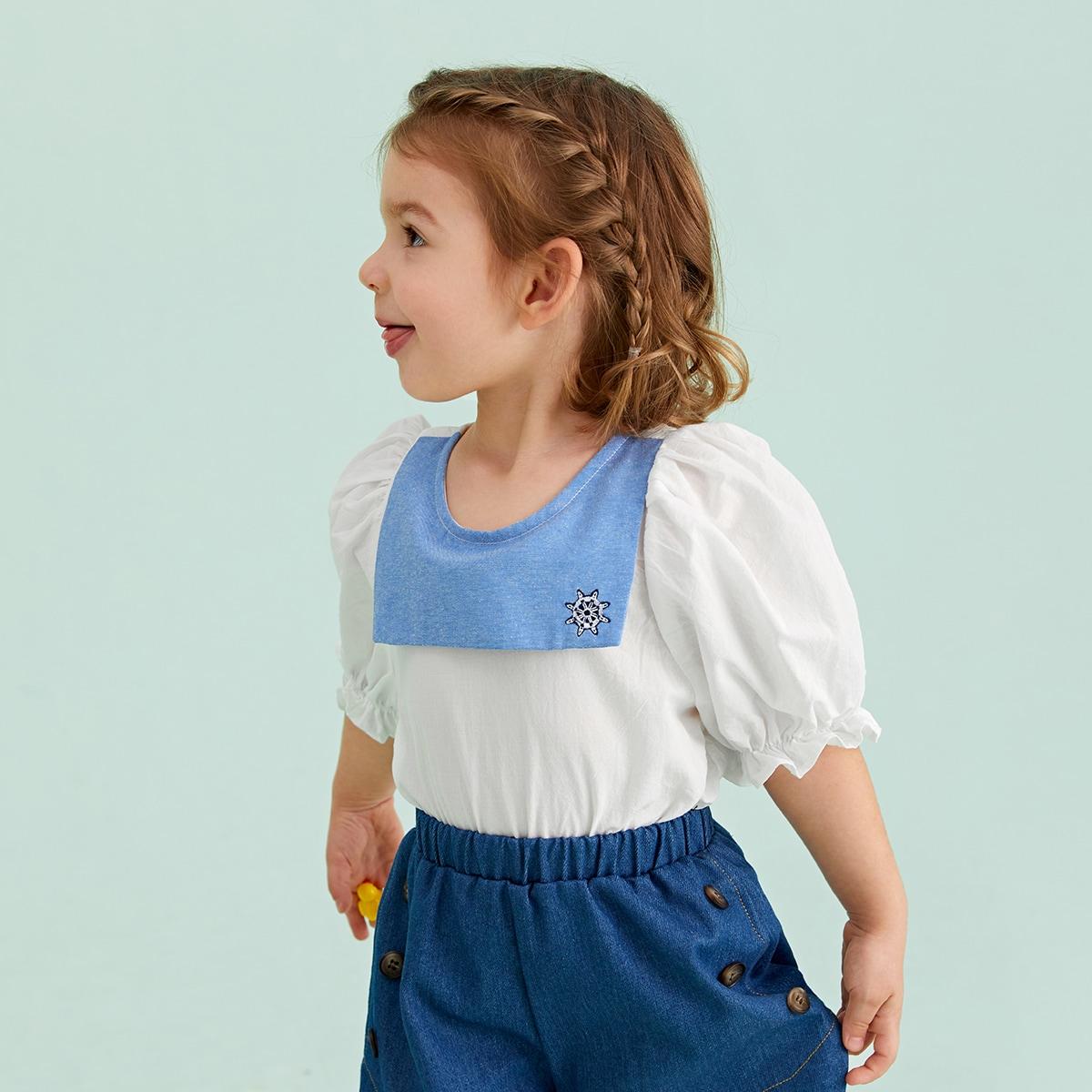 Топ с пышным рукавом и графической вышивкой для девочек