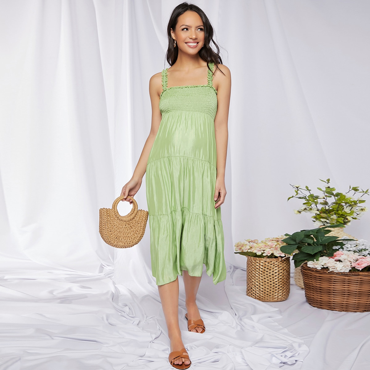 Maternity Frill Trim Shirred Detail Cami Dress