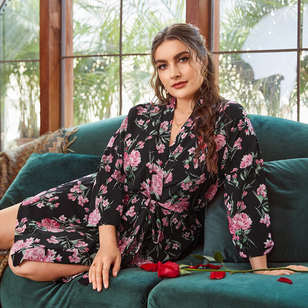Plus Allover Floral Belted Robe
