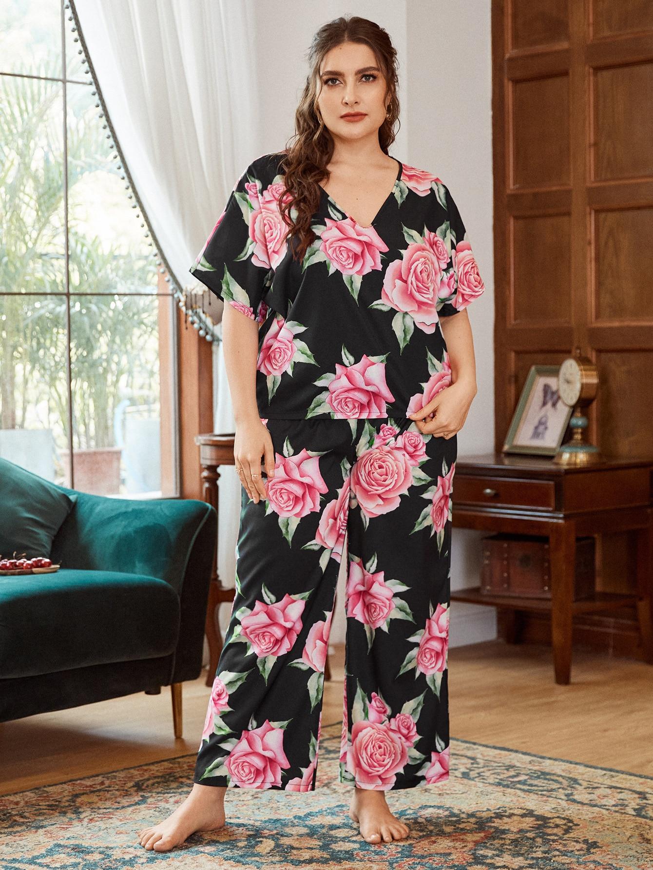 Plus Allover Floral V-Neck Pajama Set