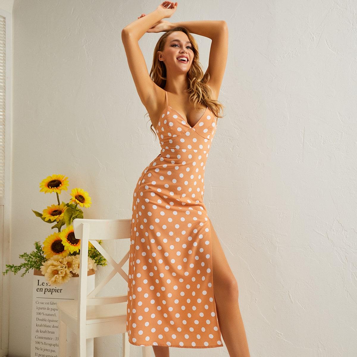 Платье-рубашка в горошек с разрезом