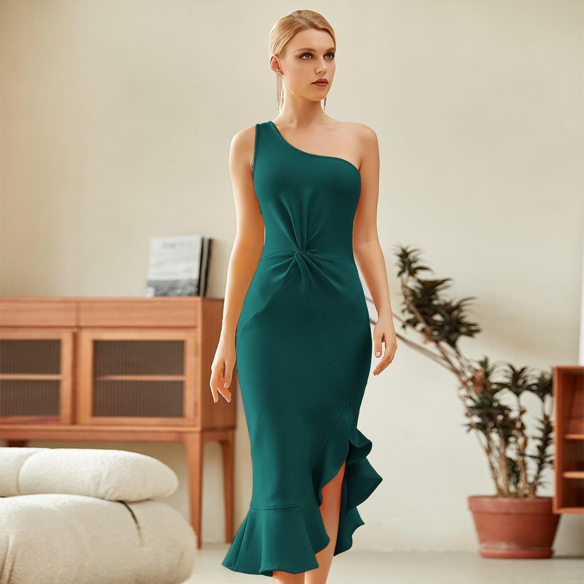 Асимметричное платье на одно плечо с драпировкой