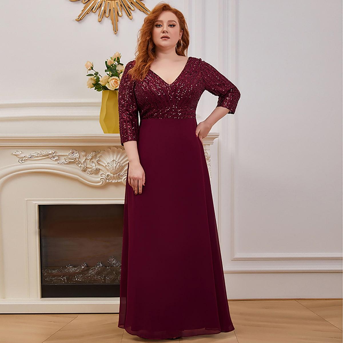 Блестящее платье размера плюс с двойным v-образным воротником