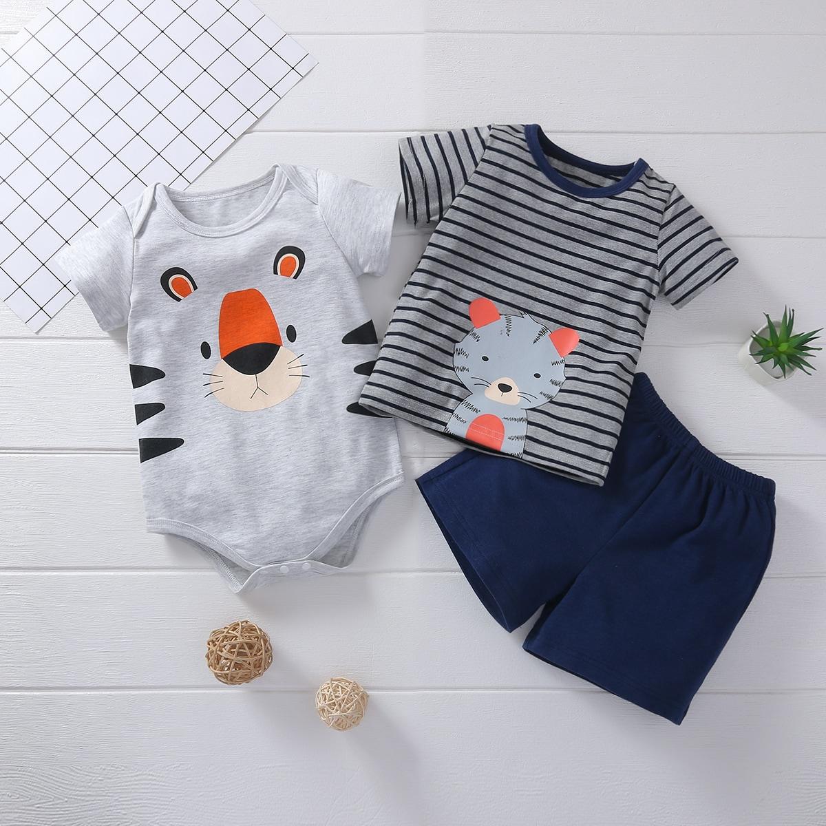 Kleinkind Junge 3 Stücke T-Shirt mit Karikatur Grafik & Body & Shorts