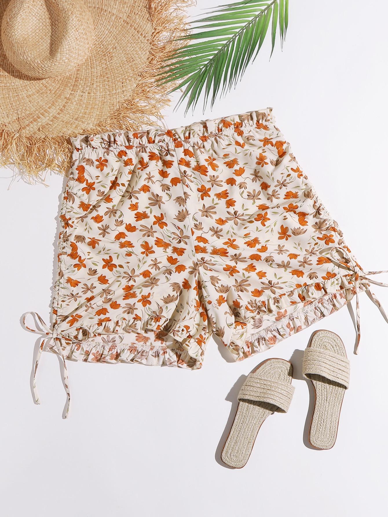 Plus Allover Floral Print Drawstring Side Paperbag Shorts