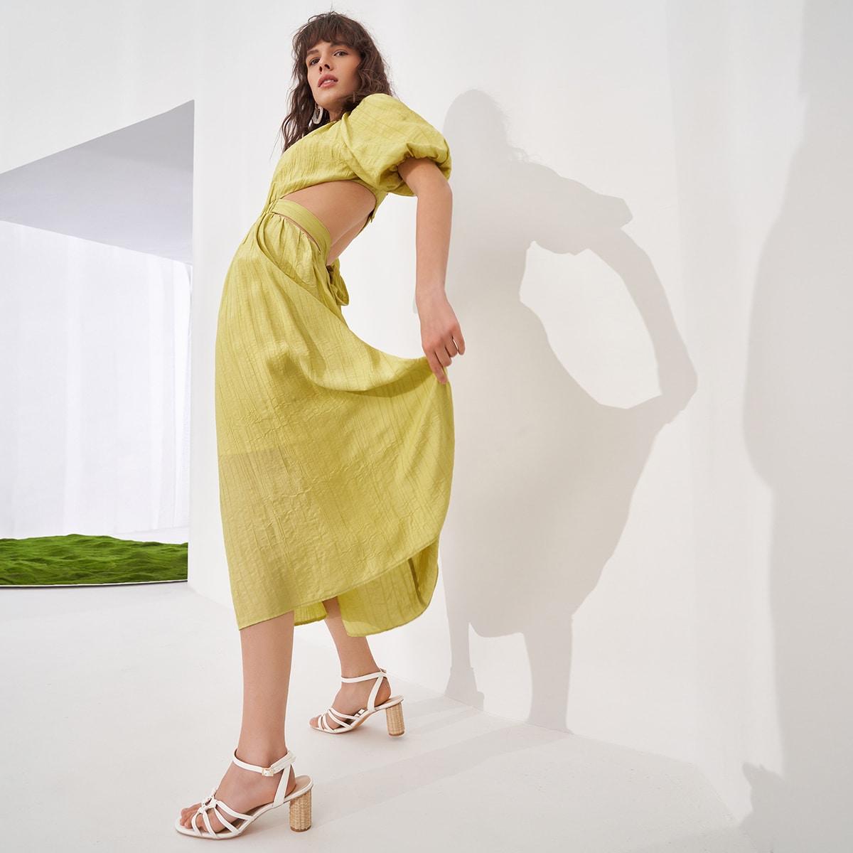 Открытая спина Одноцветный Бохо Платье