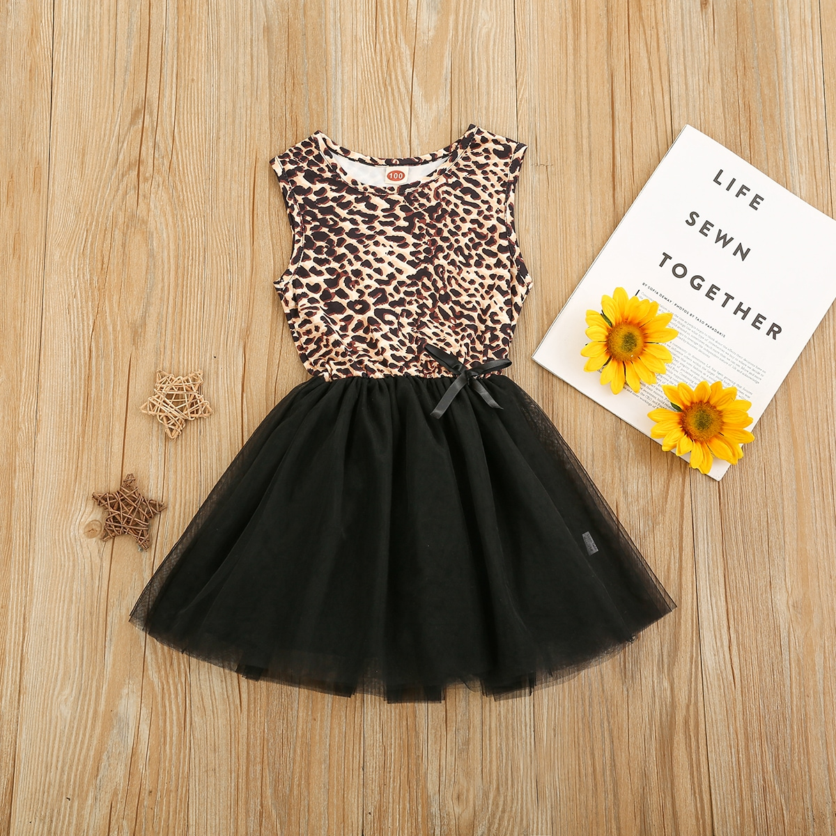 Toddler Girls Leopard Spliced Tutu Dress, SHEIN  - buy with discount