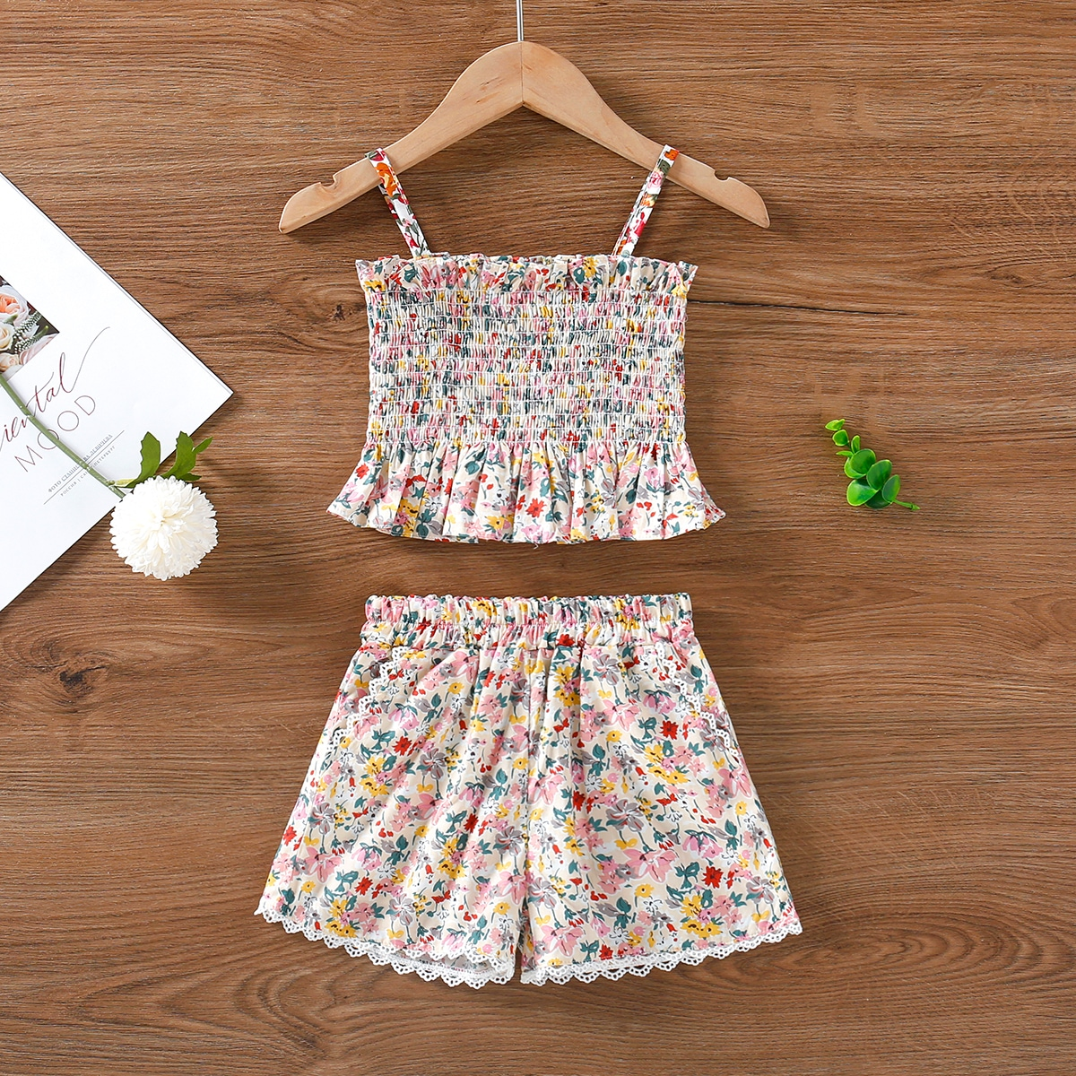 Toddler Girls Floral Print Shirred Cami Top & Shorts, SHEIN  - buy with discount