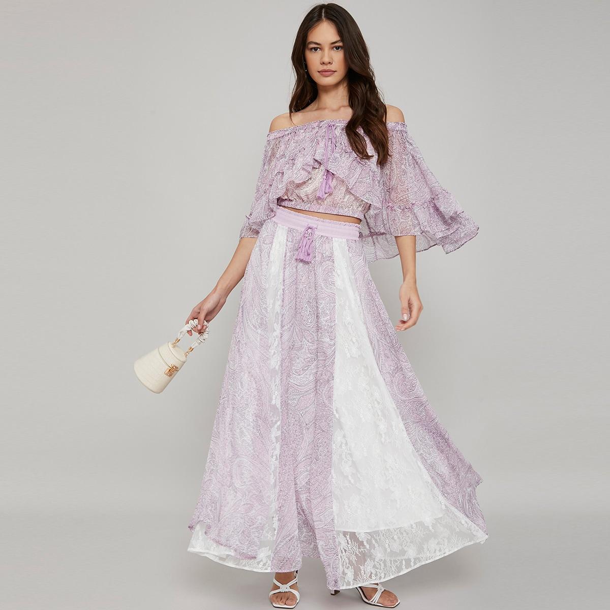 Макси-юбка с кружевом и бахромой