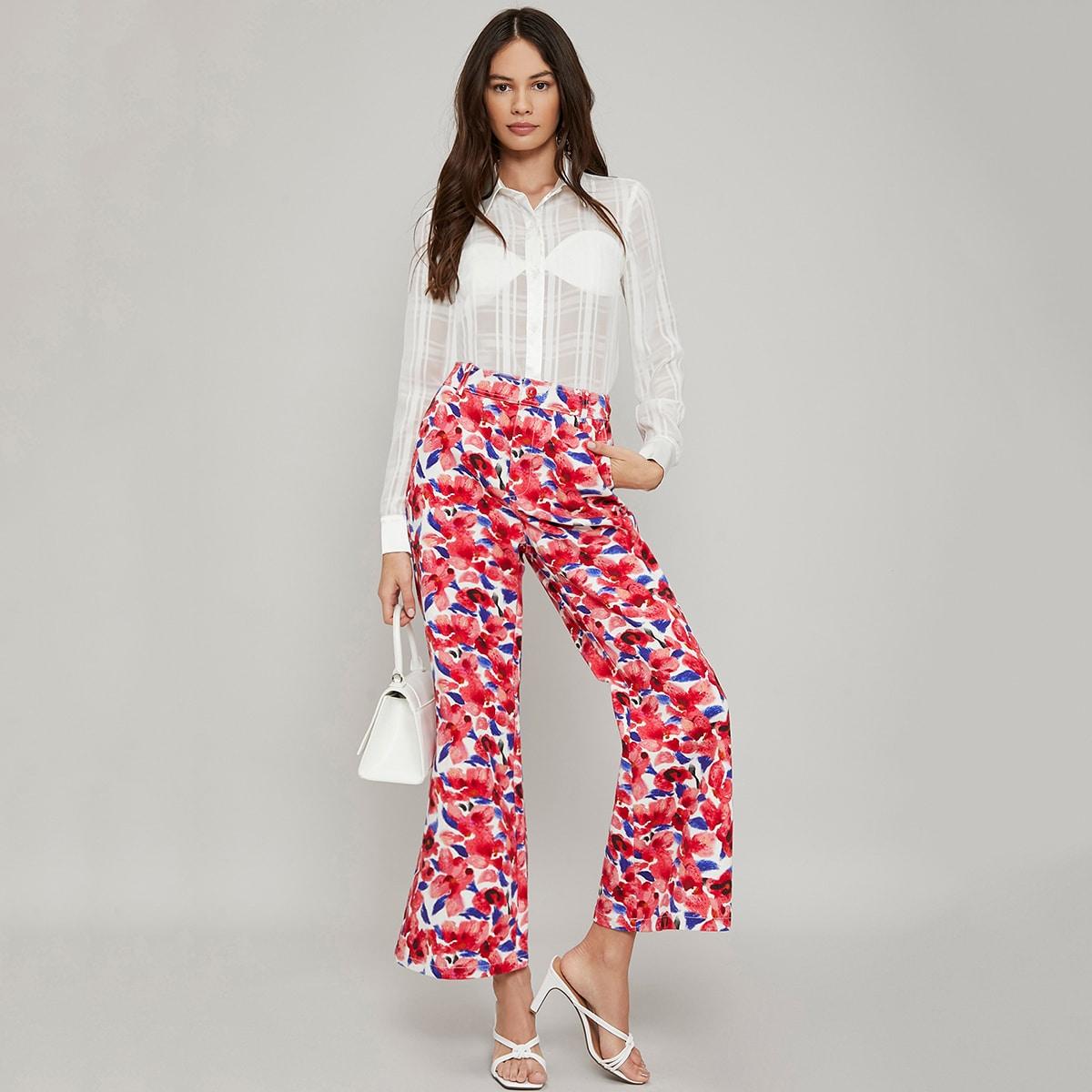 Расклешенные брюки из 100% хлопка с цветочным принтом