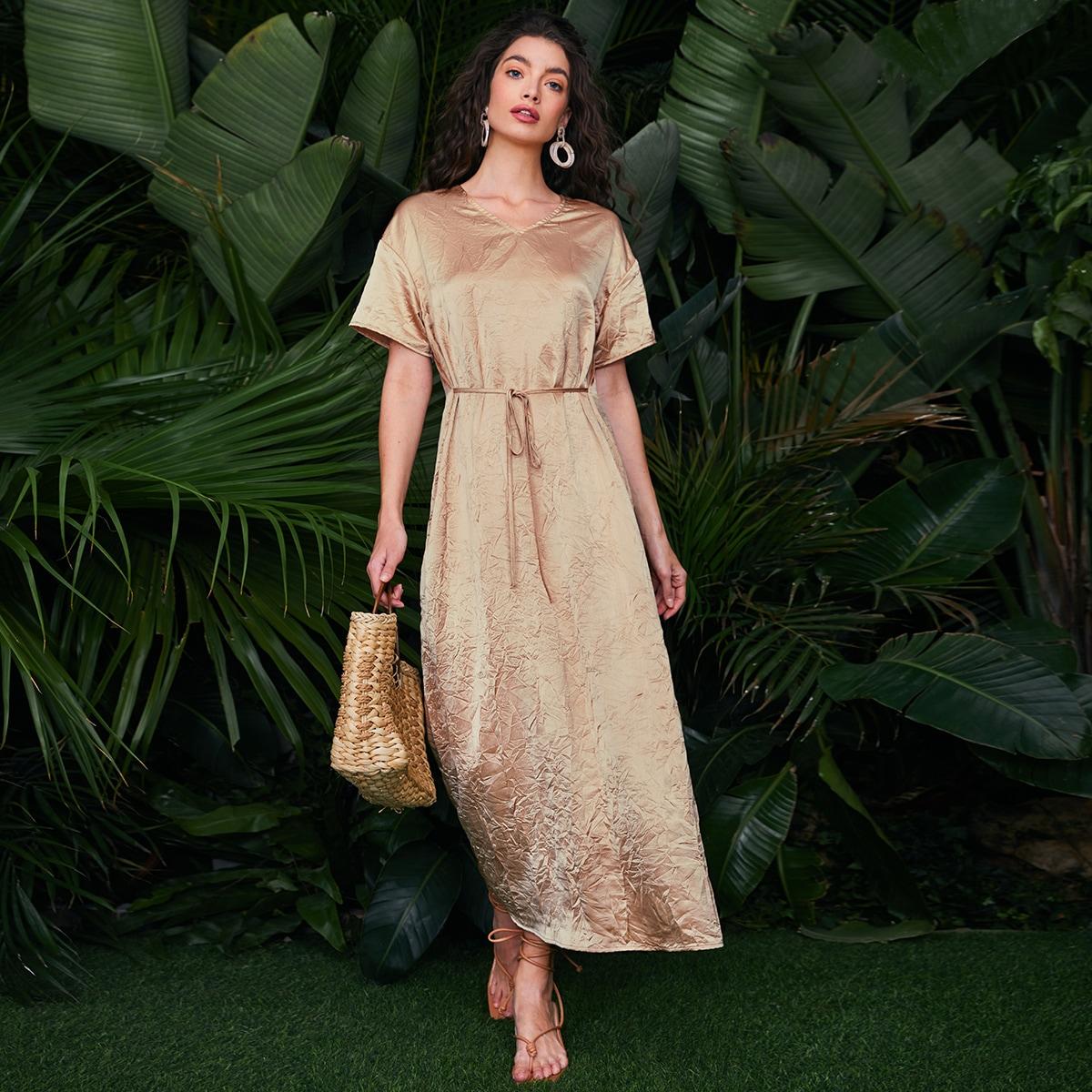 С батом перед Одноцветный Повседневный Платье по цене 856