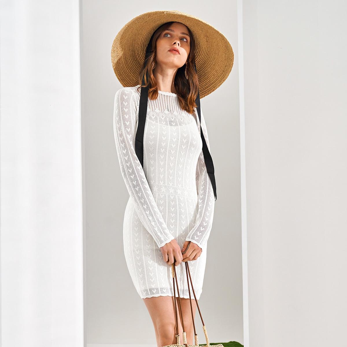 Вязаное платье-свитер без платья на бретельках от SHEIN