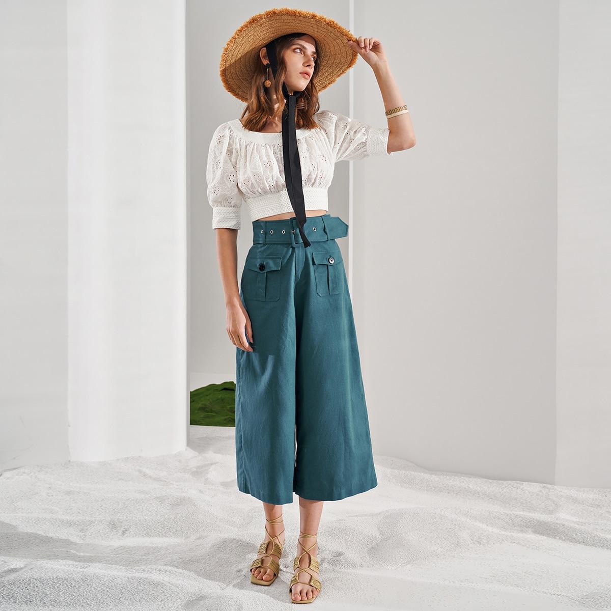 Льняные брюки с поясом