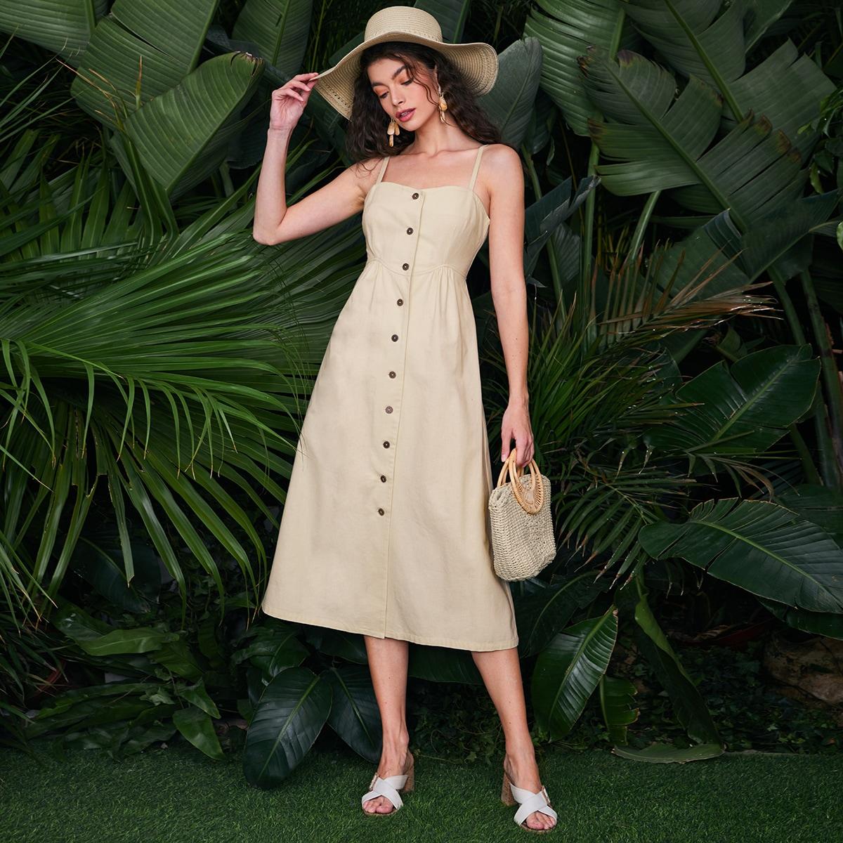 Пуговица Одноцветный Повседневный Платье по цене 1 210