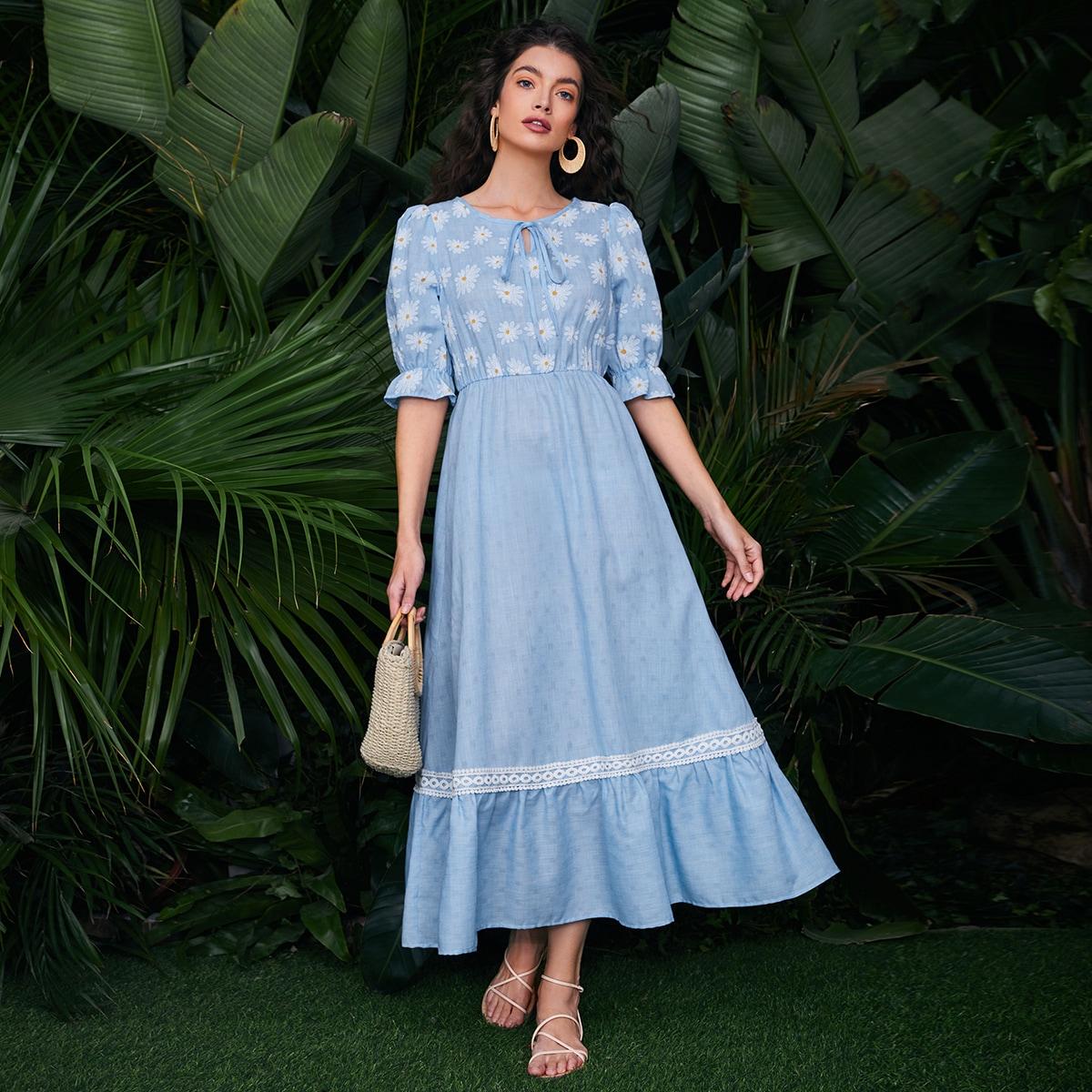 с оборками Цветочный принт Бохо Платье по цене 1 422