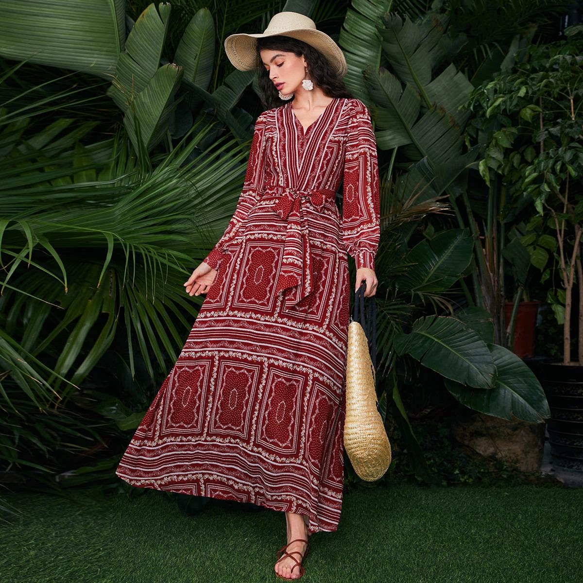 на молнии Этнический принт Бохо Платье по цене 1 800