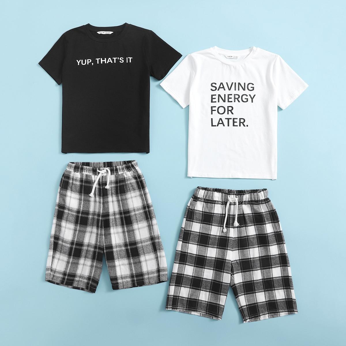 Пижамный комплект 2 топ с текстовым принтом и 2 шорты в клетку для мальчиков