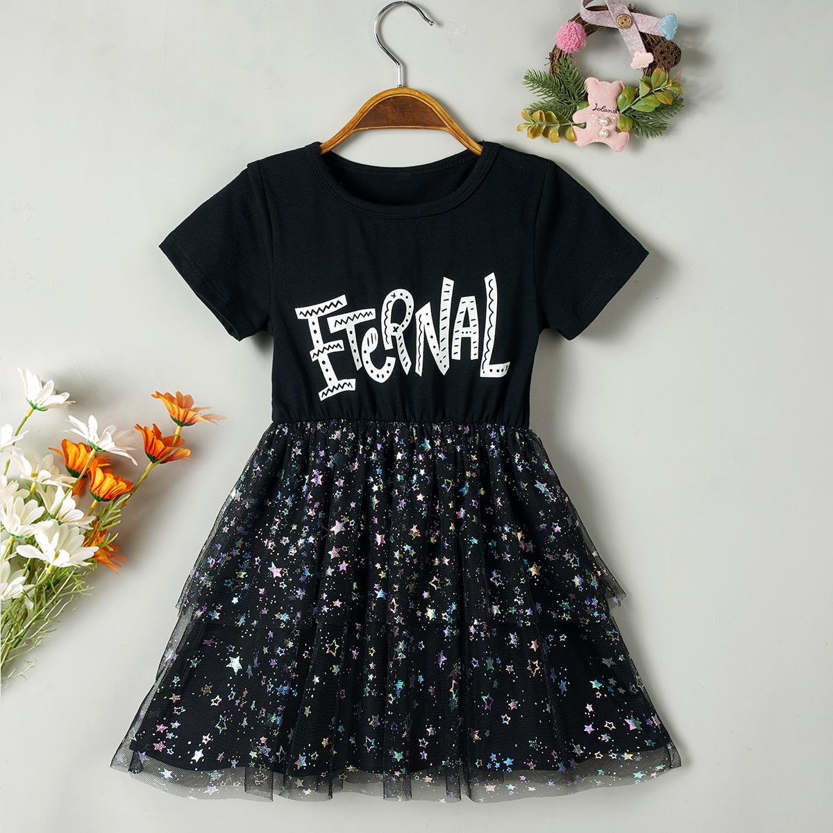 Платье с текстовым принтом для девочек