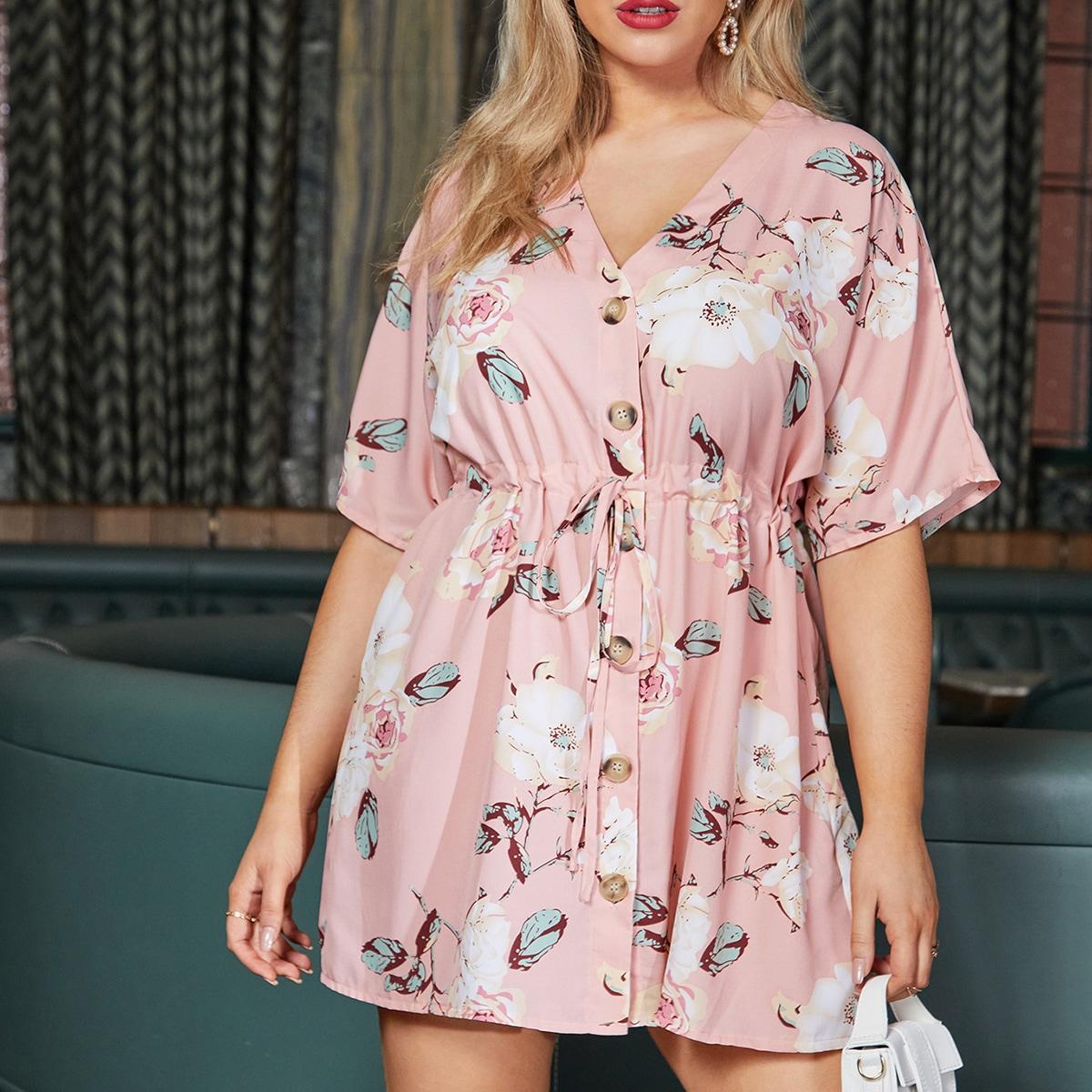 Платье размера плюс с цветочным принтом на кулиске по цене 980