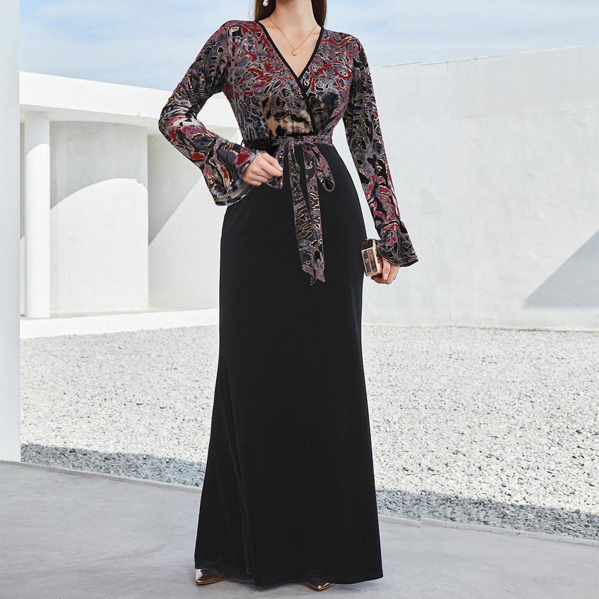 с оборками графический принт Элегантный Платье