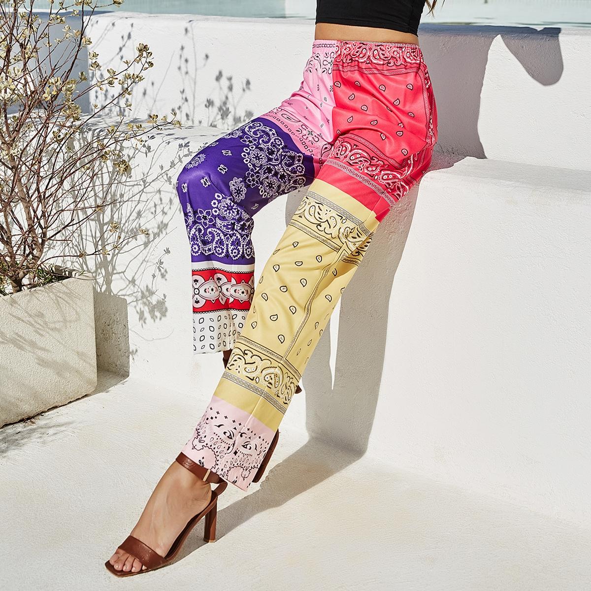 Контрастные брюки с цветочным принтом