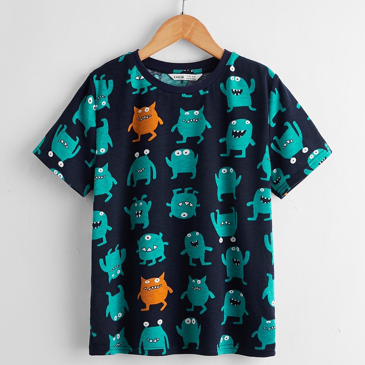 4шт пижама в полоску с мультипликационным принтом для мальчиков