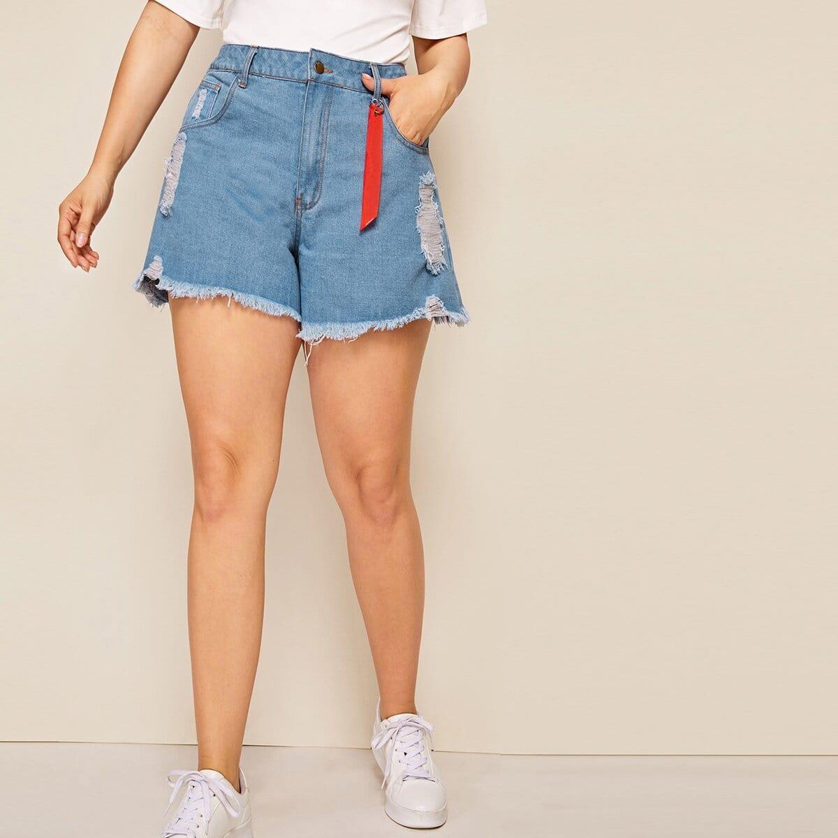 Рваные джинсовые шорты с необработанным низом размера плюс