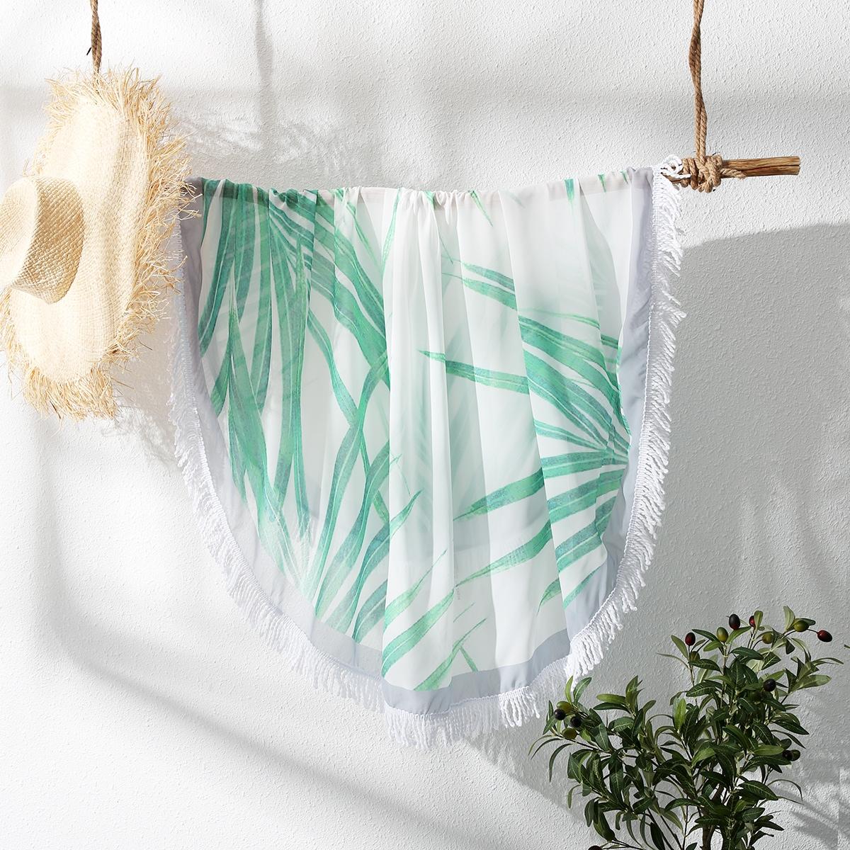 Fringe Trim Tropical Beach Blanket