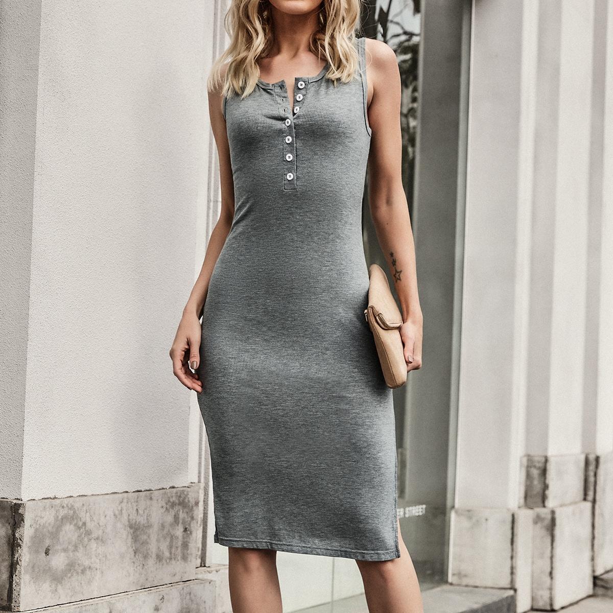 Платье-майка в рубчик с разрезом