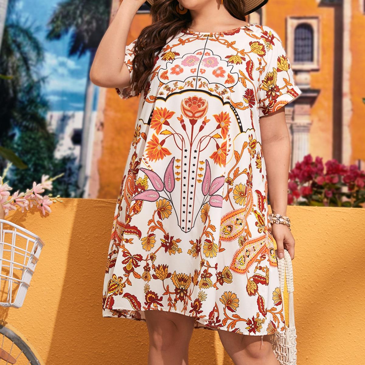 Платье размера плюс с цветочным принтом и рукавом реглан