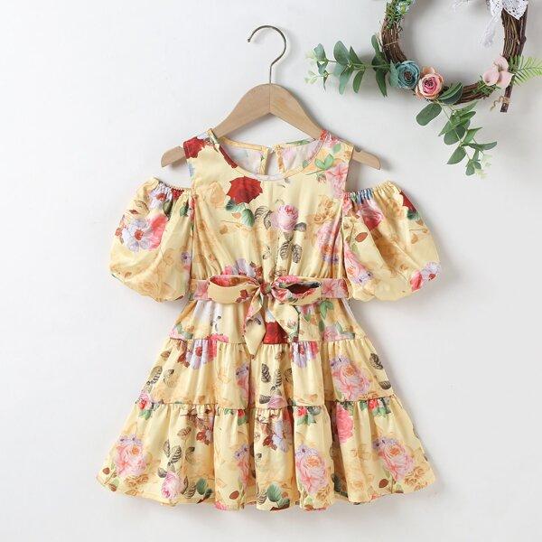 Toddler Girls Floral Print Cold Shoulder Ruffle Hem Belted Dress, Multicolor