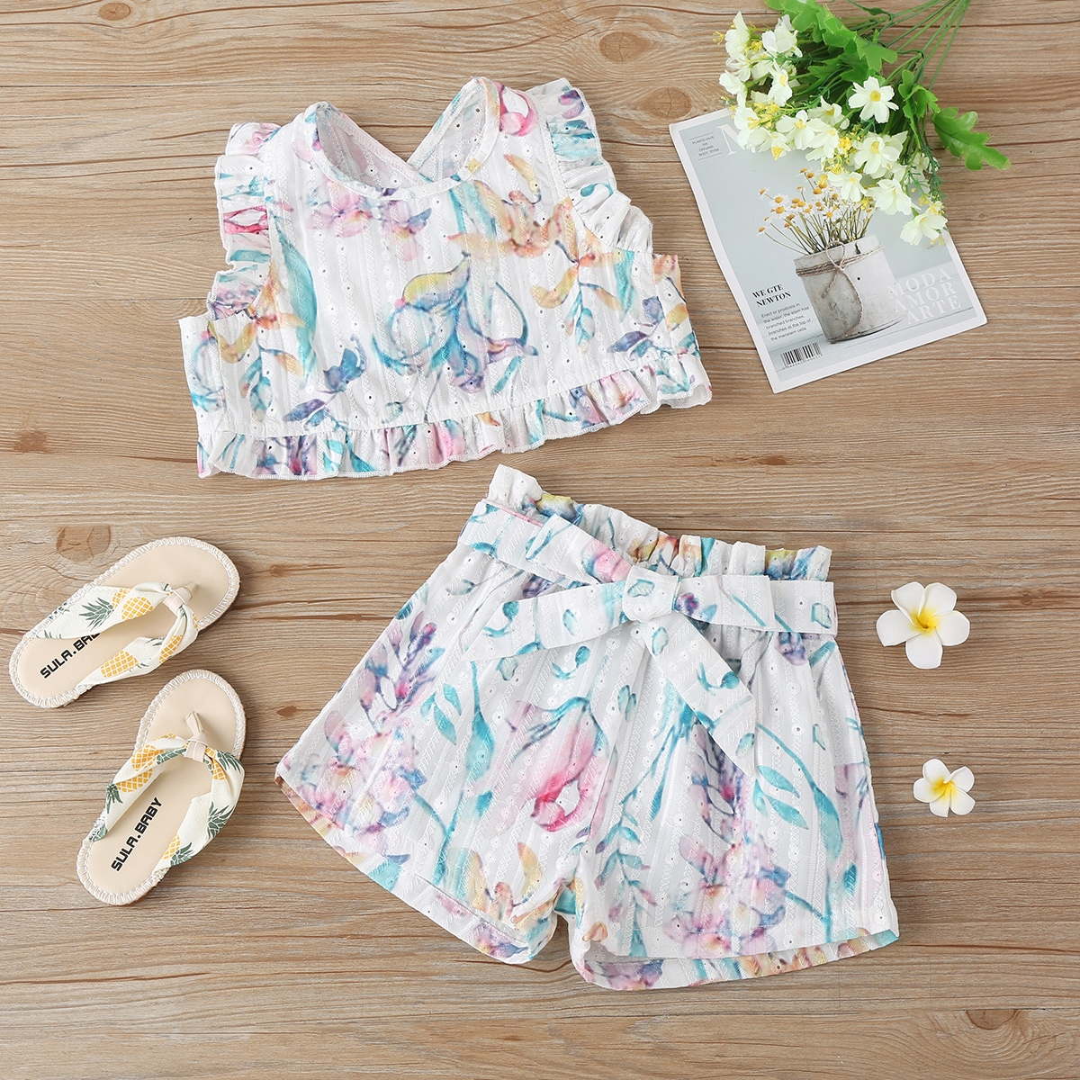 Toddler Girls Floral Print Tulip Back Ruffle Hem Top & Belted Shorts, SHEIN  - buy with discount