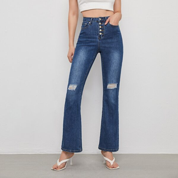 Button Fly Ripped Flare Leg Jeans, Dark wash