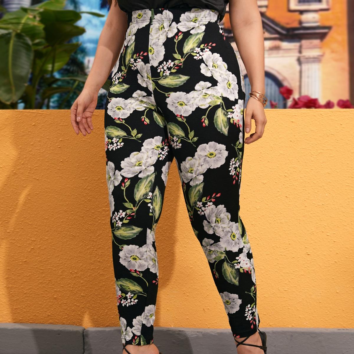 SHEIN Casual Bloemen Grote maat: legging