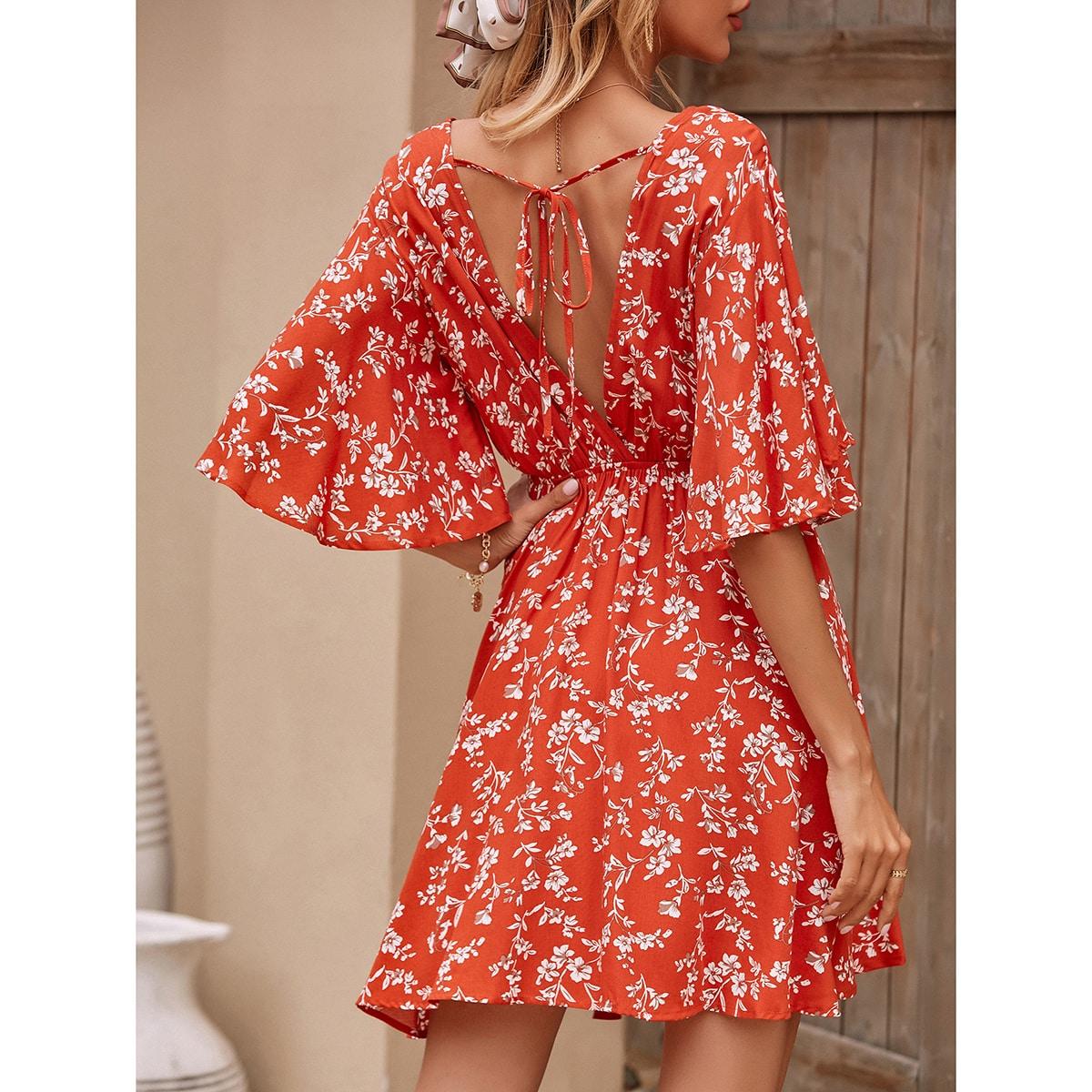 Открытая спина Цветочный принт Бохо Платье