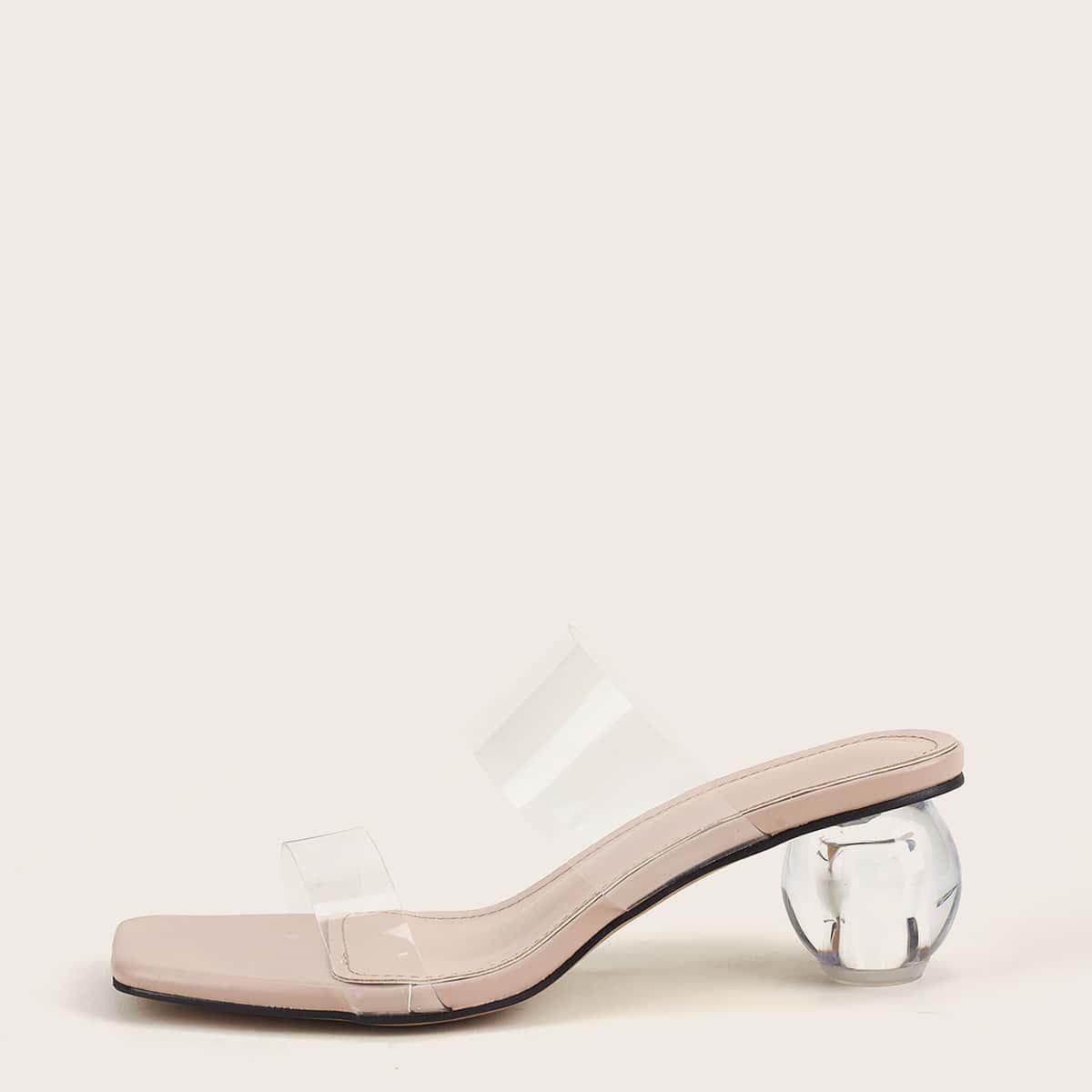Прозрачные сандалии на каблуке
