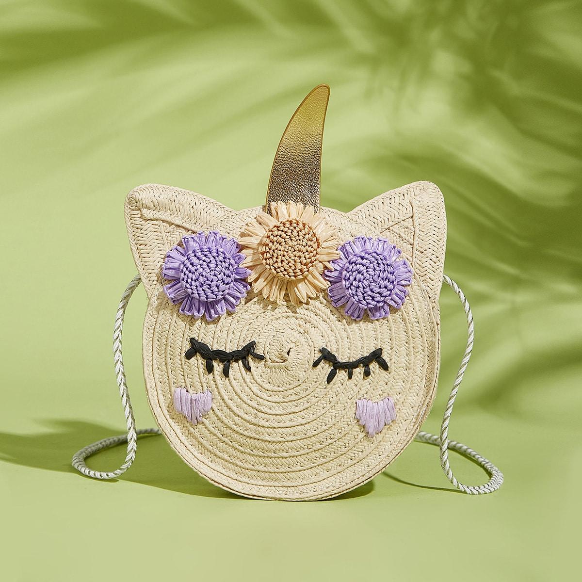 Мультипликационная соломенная сумка для девочек