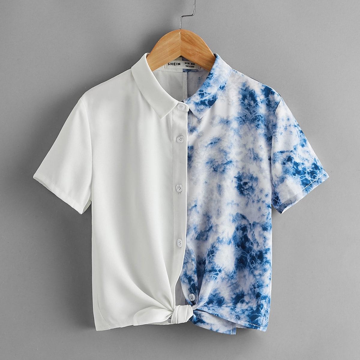 Блузка с принтом тай-дай для девочек по цене 630