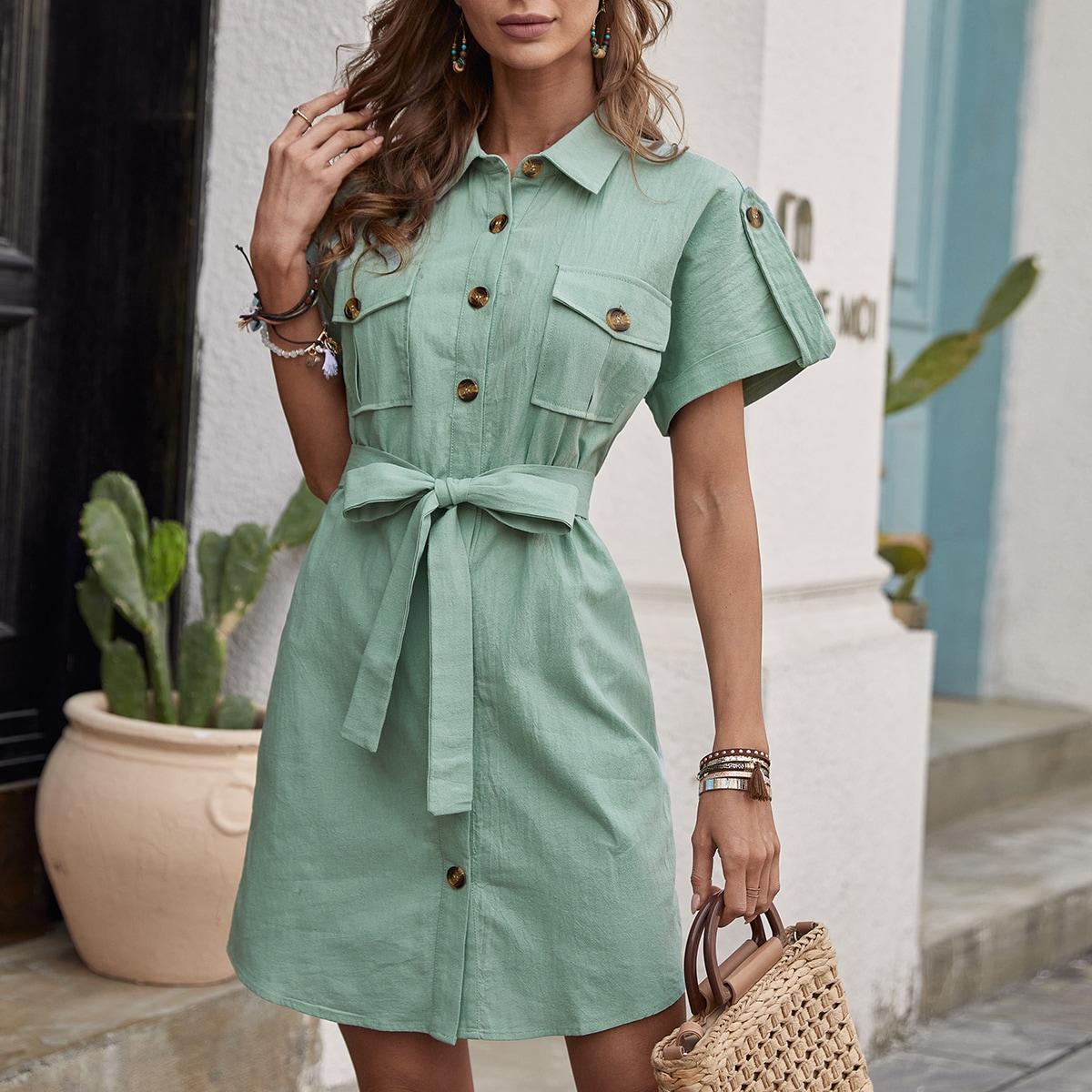 с жемчугом Одноцветный Повседневный Платье по цене 1 140